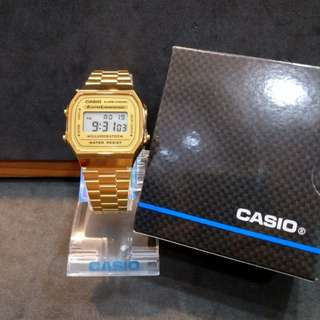 Brand New 100% Authentic Casio Vintage PVD Gold Digital Watch A168WG 9