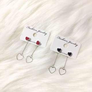 Back Dangling Heart Earrings