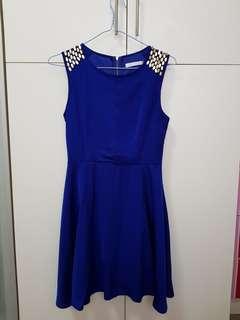 MGP Label Studded Dress in Royal Blue