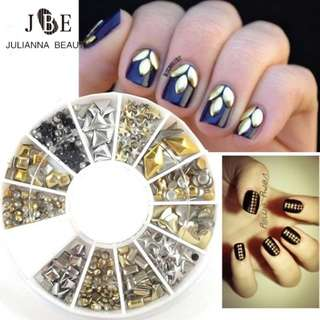 1 box/Lot 3D Metal Nail Art Decoration Gold Silver Metallic Nail Rhinestone Studs Wheel Nail Accessories Manicure Art Tools