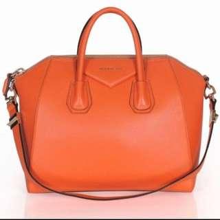 Authentic Brand New Givenchy Antigona Small Duffle Bag Orange Leather