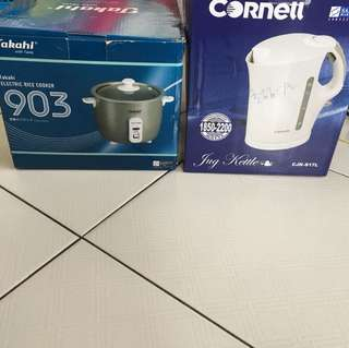 Takahi electric rice cooker and Cornell kettle 1.7 litres