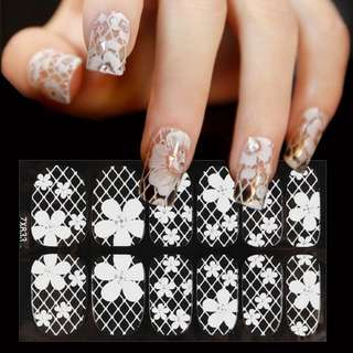 1 Sheet White 3D Nail Art Stickers Decals Stylish Lace Designs Flower Full Cover Adhesive Nail Tips Accessory Decoration Tool