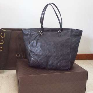 Gucci Authentic Bree Guccisima Leather Tote original black bag