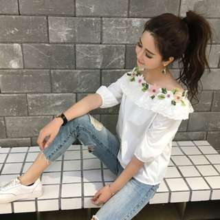 (PO) Strapless Embroidery Lotus Lace Top