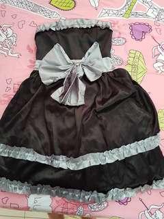 BN Silver Ribbon Satin Black Bubble Hem Dinner Tube Dress