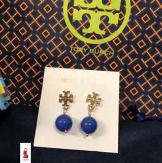 Tory Burch Evie Logo Pearl Drop Earrings