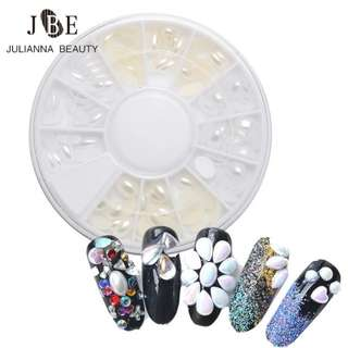 1 Wheel 6mm Nail Stud AB Rhinestone White Acrylic Nail Tips Horse Eye Design 3D Nail Art Decoration Beauty Makeup Accessory