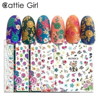 1 Sheet Flower Bee 3D Nail Art Transfer Stickers Japanese Nail Art Designs Floral Nail Professional Manicur for Nail Decorations