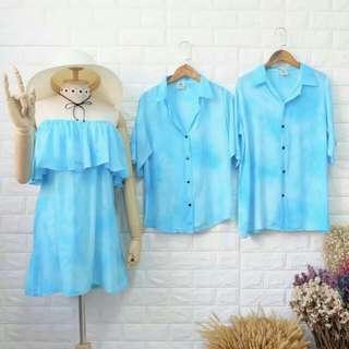 Set dress and couples shirt ( 3 pieces)