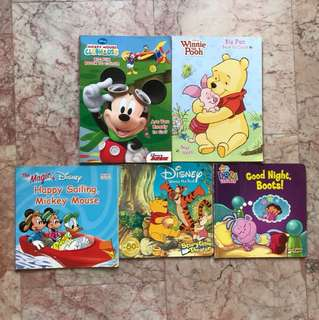 Disney books- 2 colouring books and 3 story books