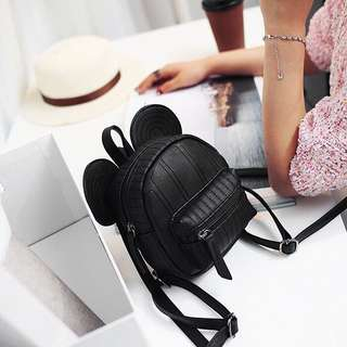 Po: black leather Mickey Mouse inspired backpack
