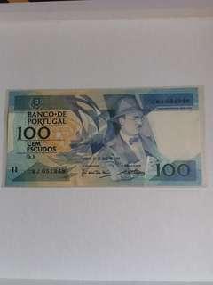全新直版葡萄牙1988年100比塞塔紙幣