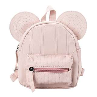 Po: pink leather Mickey mouse ears inspired backpack