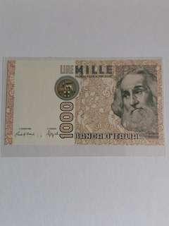 全新直版意大利1982年1000里拉纸幣