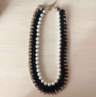 Statement Necklace - Pearl/Black/Gold