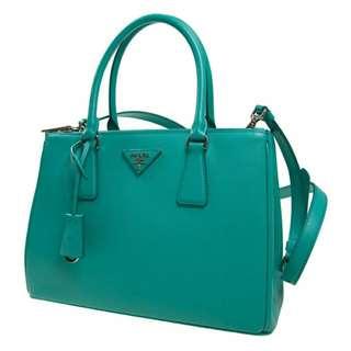 99%new Prada Galleria Saffiano 皮革手袋 薄荷綠 清櫃快走 還價即成
