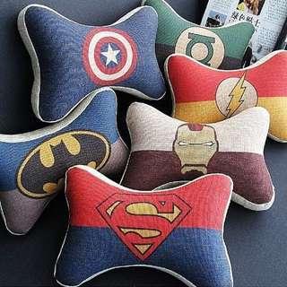 復仇者聯盟+正義聯盟 鋼鐵人 美國隊長 蜘蛛人 蝙蝠俠 超人 車內舒適記憶棉護頸頭枕 抱枕 靠枕 腰枕
