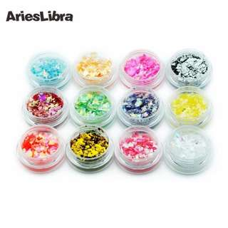 1pot 3D Holographic Broken Glass Foils Finger Nail Art Mirror Stickers Glitter Stencil Decal DIY Manicure Design Tools