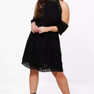 Boohoo plus Leah crochet lace open shoulder swing dress