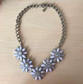 Statement Necklace - Blue Flowers
