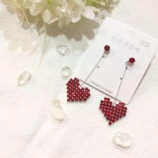 925 Silver Ear Needle Korea Red Love Dangle Earrings