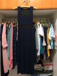 Mesh long dress w/ side slits