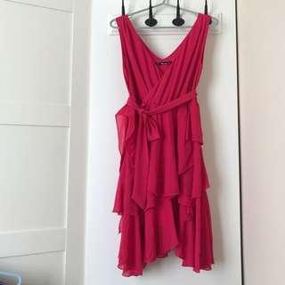 桃紅色雪紡背心裙