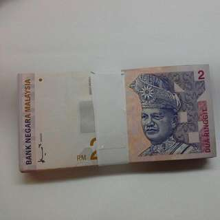 100 Pieces Mixed Notes Malaysia $2 Mostly Aunc, Ef And Some In Vf Condition