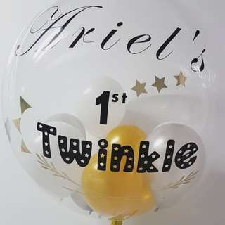 Customised balloon in gold and white theme