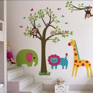 Cartoon tree cute animal wall sticker children room decoration kindergarten background layout waterproof sticker Home decor