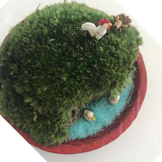 Hillside and Lake (w ducks as shown) Moss (New Zealand) in a Japan-made plate/saucer