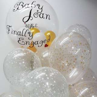 Personalised balloon with gold white star printed helium balloons