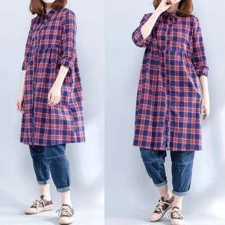 Plus Size 2018 Spring Loose Shirt Casual linen blouse