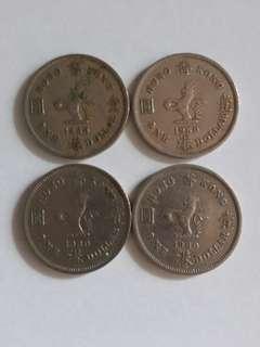 香港女皇頭1960年大一元4個