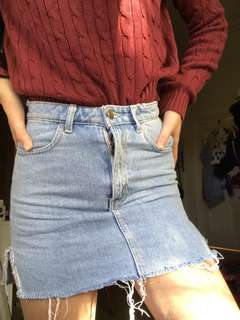 AMERICAN APPAREL high wasted denim skirt