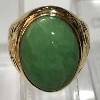 CLEARANCE SALES {Men's Jewelry - Vintage Ring} Classy Vintage 20K Solid Yellow Gold Men Jade Ring