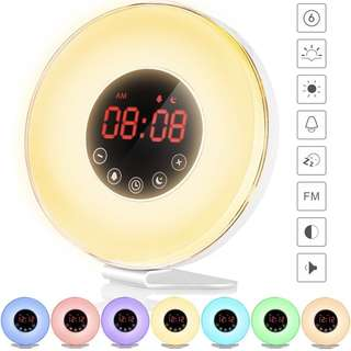 Sunrise Wake Up Light Digital Alarm Clock – 6 Natural Sounds, FM Radio, Sunrise & Sunset Simulation, Touch Control w Snooze Function, 7 Color Night Light for bedside and kids