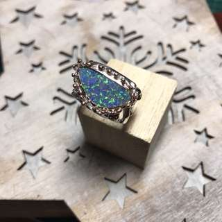 Silver Opal Ring 純銀包金白色玫瑰金色澳洲蛋白石戒指