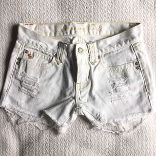 Abercrombie & Fitch White Ripped Shorts