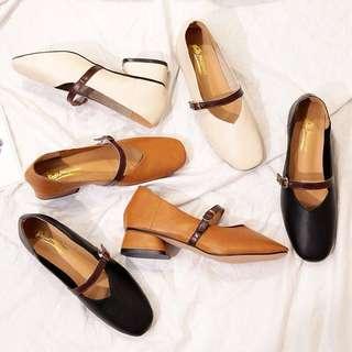 Ladies Korean Style Chunky Heels Shoes
