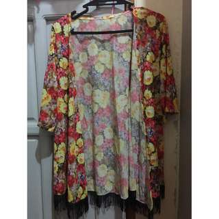 Floral Cover Up with fringes