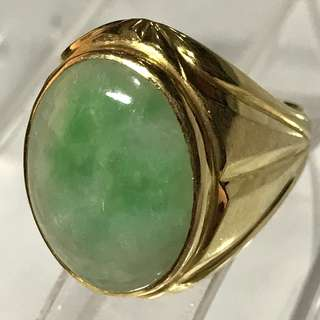 {Collectibles Item - Vintage Jade Ring} Classy Vintage Solid 20K Yellow Gold Genuine Type A Natural Old Jade【老坑玉】Men Jade Ring Come With NGI Gemstone Report