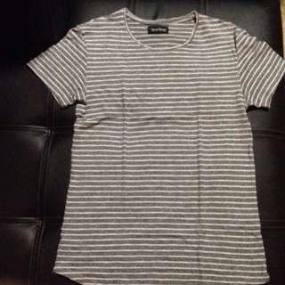Grey striped shirtdress