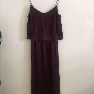 Maroon silky long dress