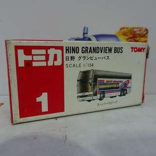 180222-18** 全新未開封 TOMY TOMICA 1 1/154 HINO GRANDVIEW BUS 日野巴士
