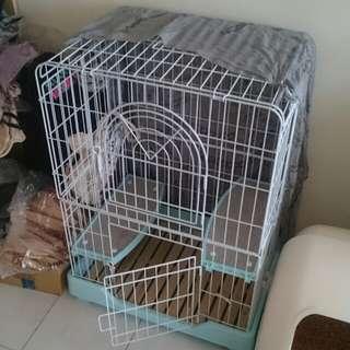 雙層貓籠 - 木頭底粉藍色9成新 (限自取或面交)
