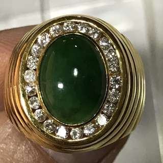 {Men's Jewelry - Diamond Jade Ring} Gorgeous 20K Yellow Gold Genuine Diamonds With Type A Men Natural Jadeite 天然翡翠玉 Ring Come With NGI Gemstone Report