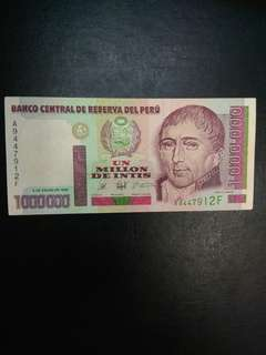 Peru 1000000 1 million intis 1990 issue