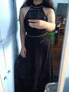 Black turtle neck long gown for rent